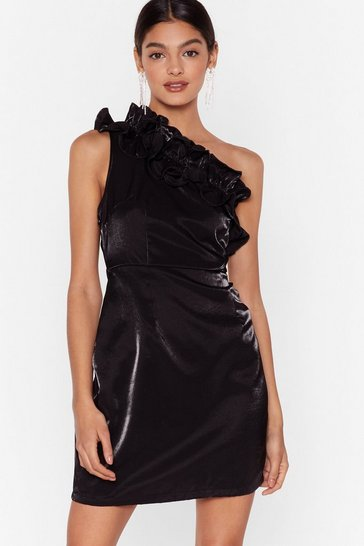 Womens Black One On One Shoulder Ruffle Mini Dress