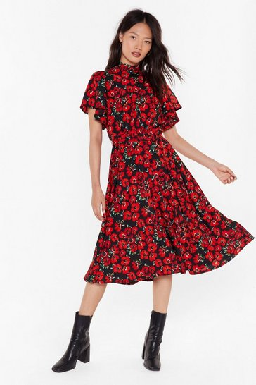 Womens Black Field of Dreams Floral Midi Dress