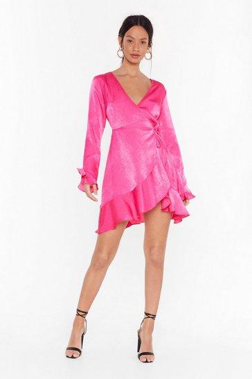 Pink We've Frill Got Time Satin Wrap Dress