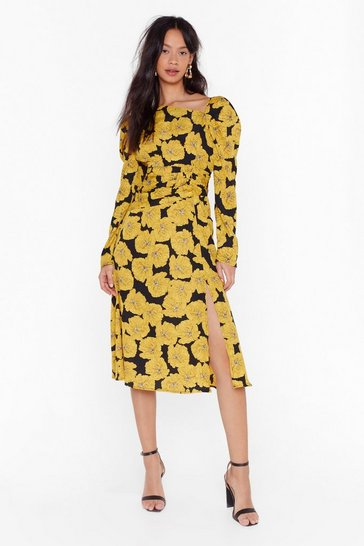 Black Time Grows By Floral Midi Dress