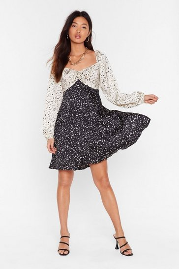 Black Mixed Feelings Smudge Mini Dress