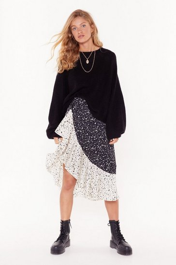 Black Mixed Feelings Smudge Midi Skirt