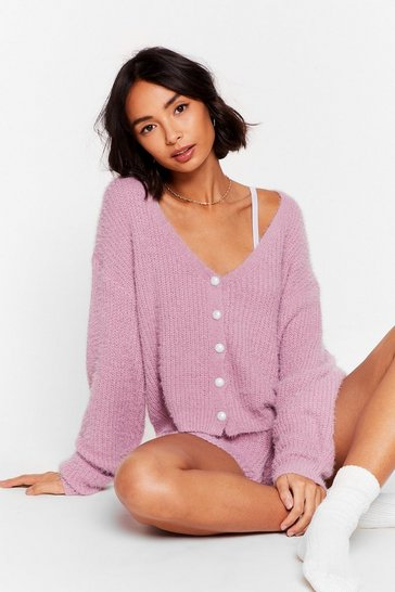 Lilac What a Pearl Wants Knit Shorts Lounge Set