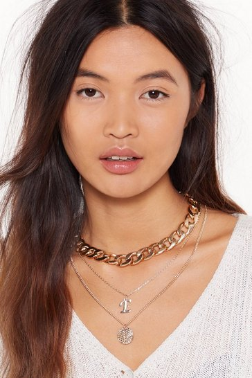 Womens Gold Initial Impressions E Chain Layered Necklace