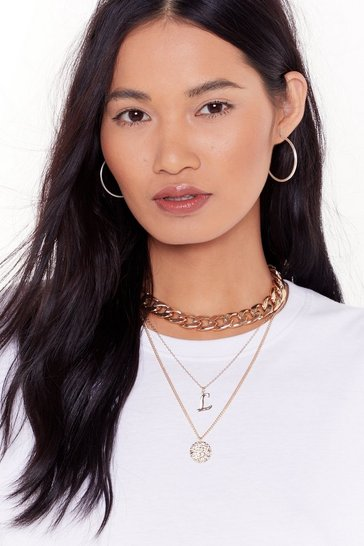 Womens Gold Initial Impressions L Chain Layered Necklace