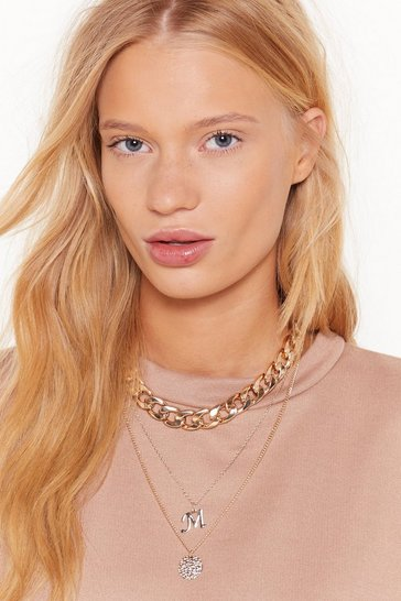 Womens Gold Initial Impressions M Chain Layered Necklace