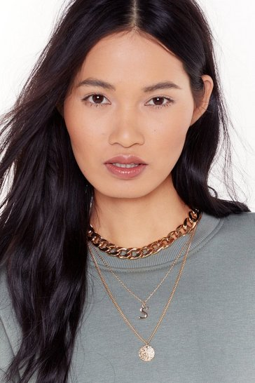 Gold Initial Impressions S Chain Layered Necklace