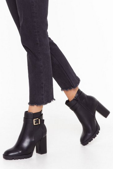 Womens Black Get My Good Side Wide Fit Heeled Boots