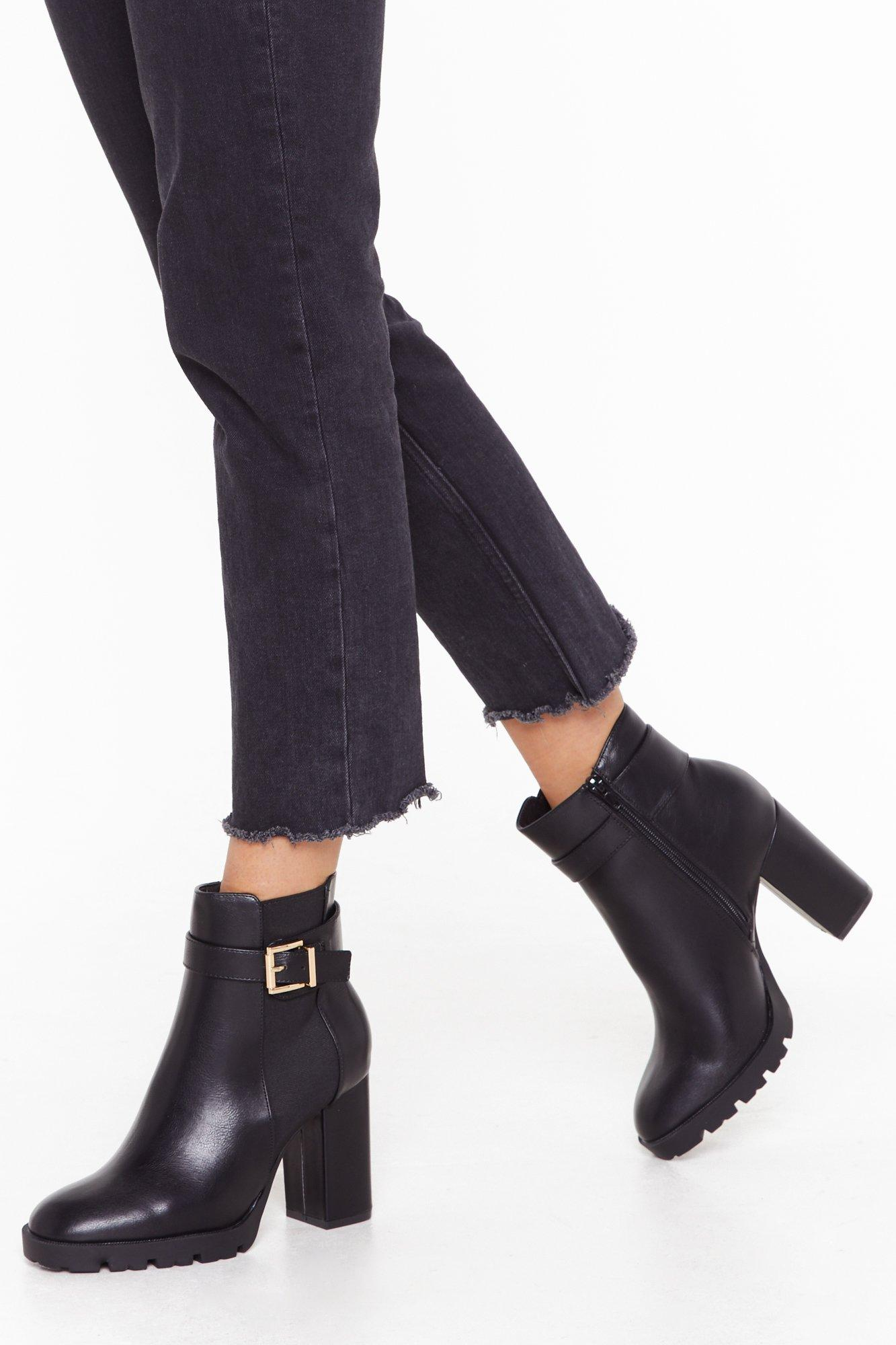 Get My Good Side Wide Fit Heeled Boots by Nasty Gal