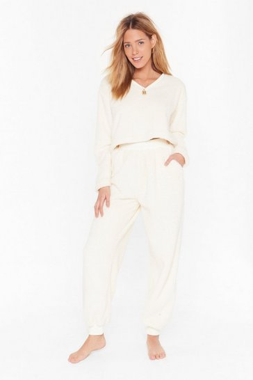 Ensemble de confort en polaire sweat & pantalon J'ai la flemme, Cream