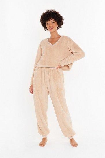 Oatmeal Teddy For Bed Sweater and Joggers Lounge Set