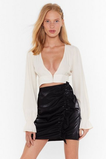 Womens Black It's a Shine Ruffle Mini Skirt