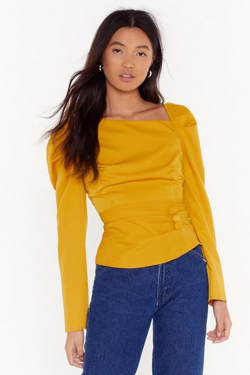 Mustard As Long As You Puff Me Button Blouse