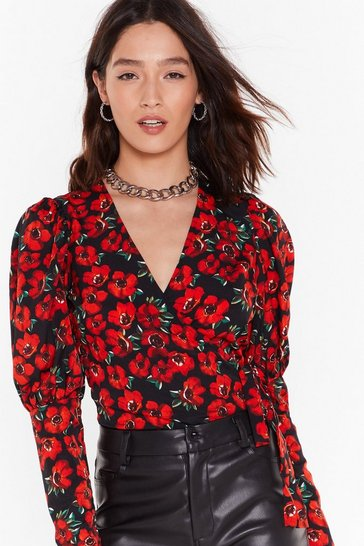 Womens Black Plant Lose You Floral Puff Sleeve Blouse