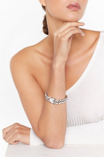 Womens Silver No Chain No Gain Diamante Bracelet