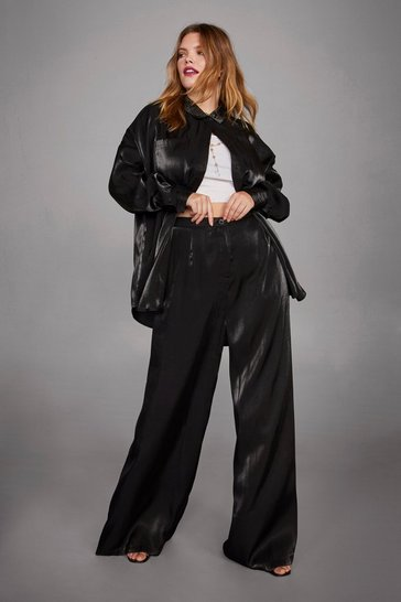 Womens Black Die Another Day Wide-Leg Plus Pants