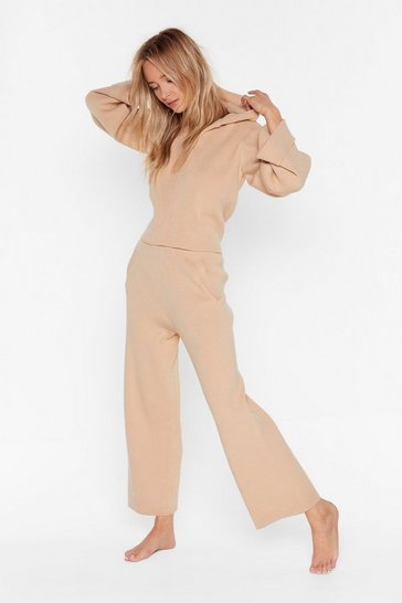 Womens Nude Premium Hooded Crop & Trouser Lounge Set