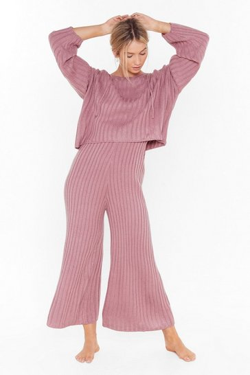 Womens Mauve Knit Back and Relax Wide-Leg Pajama Set