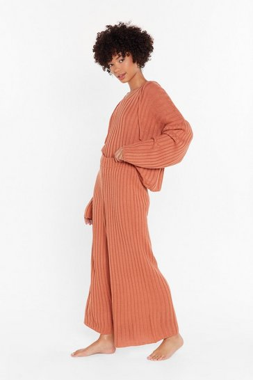 Rust Knit Back and Relax Wide-Leg Pajama Set