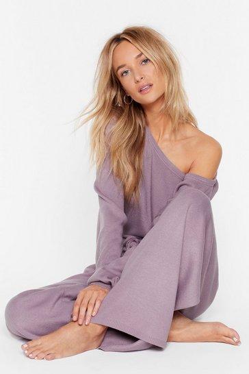 Lilac Take No Knit Sweater and Wide-Leg Lounge Set