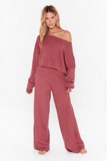 Rose Take No Knit Sweater and Wide-Leg Lounge Set