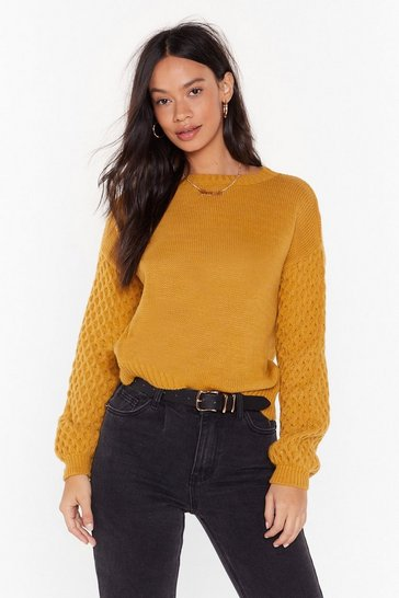 Womens Mustard Let's Face Knit Crew Neck Sweater