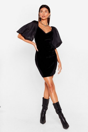Womens Black Big Love Velvet Mini Dress