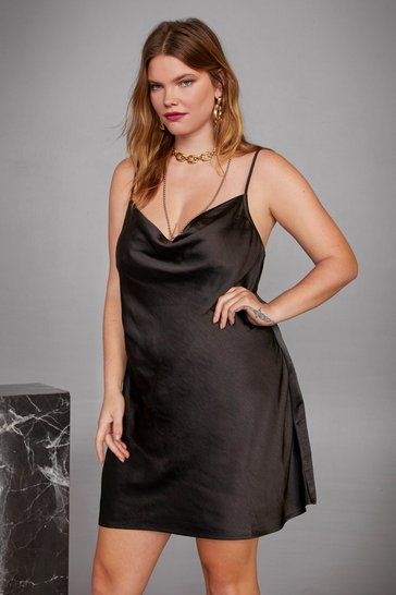 Womens Black Open Your Heart Slip Plus Dress