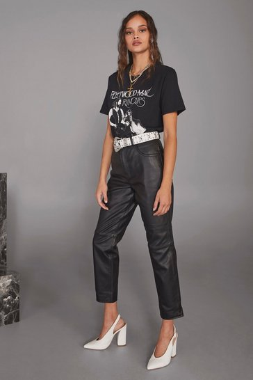 Black Get Together Leather Straight-Leg Pants