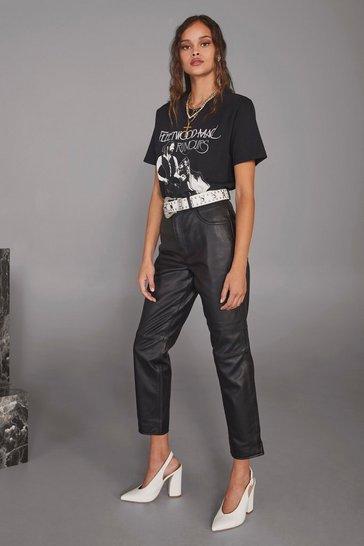 Black Get Together Leather Straight-Leg Pants