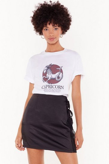 Womens White Tell Me Your Star Sign Capricorn Graphic Tee