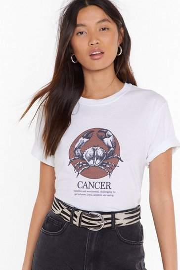 Womens White Tell Me Your Star Sign Cancer Graphic Tee