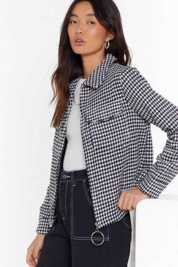 Womens Black Nothin' But the Houndstooth Relaxed Jacket