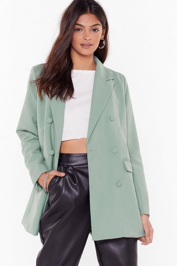 Womens Sage Blazer in Love Relaxed Longline Blazer