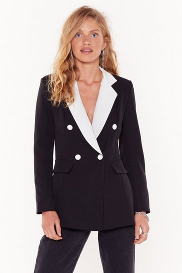 Womens Black You Tux Our Breath Away Double Breasted Blazer