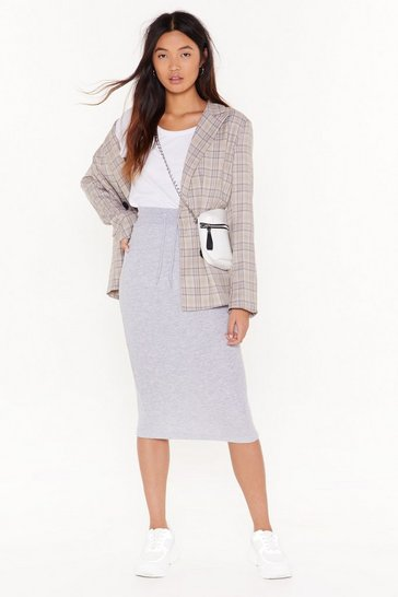Womens Grey marl Draw 'Em in Jersey Midi Skirt