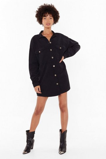 Womens Black When the Record-uroy's Oversized Shirt Dress