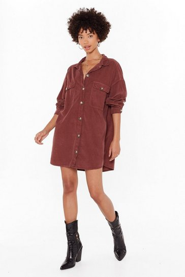Womens Chocolate When the Record-uroy's Oversized Shirt Dress