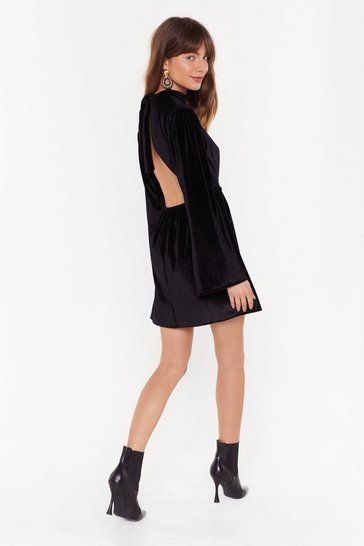 Womens Black We Bite Back Velvet Mini Dress