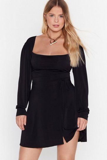 Womens Black I Won't Square You Plus Mini Dress