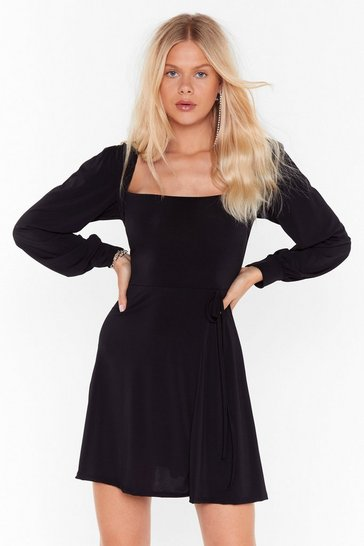 Womens Black I Won't Square You Balloon Sleeve Mini Dress