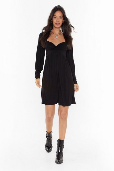 Womens Black Extra Room for Activities Relaxed Mini Dress