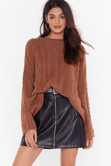 Brown Knit the Lights Cable Knit Sweater