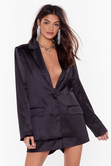 Womens Black Split Back and Watch Satin Blazer