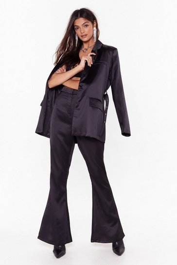 Womens Black Turn Threads Satin Flared Pants