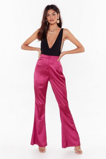 Womens Fuchsia Turn Threads Satin Flared Pants