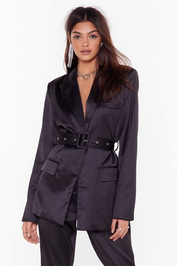 Womens Black Turn Threads Satin Belted Blazer