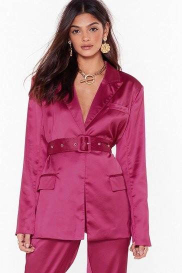 Womens Fushia Turn Threads Satin Belted Blazer