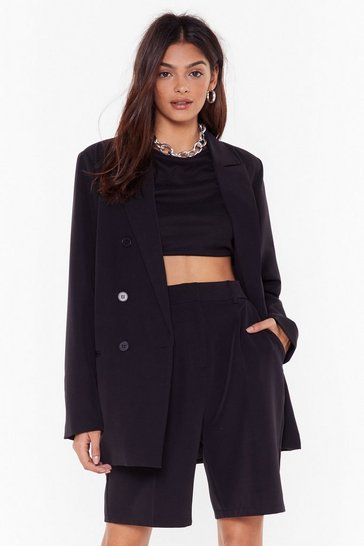 Womens Black Let's Talk Business Double Breasted Blazer