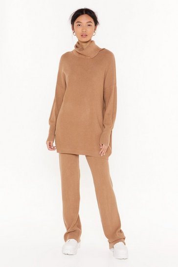 Womens Camel Roll on Home Time Turtleneck Sweater and Pants Set